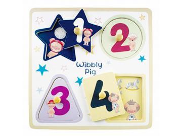 Wibbly Pig Zahlenpuzzle. Holz. Original aus GB!