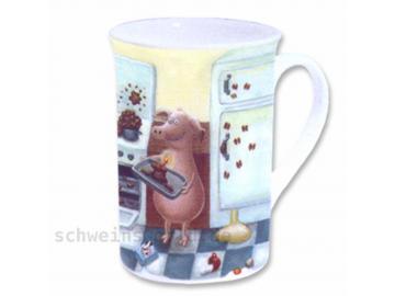 Bone China Becher. Porzellan. HAPPY BIRTHDAY KUCHEN. Chaos-Schwein