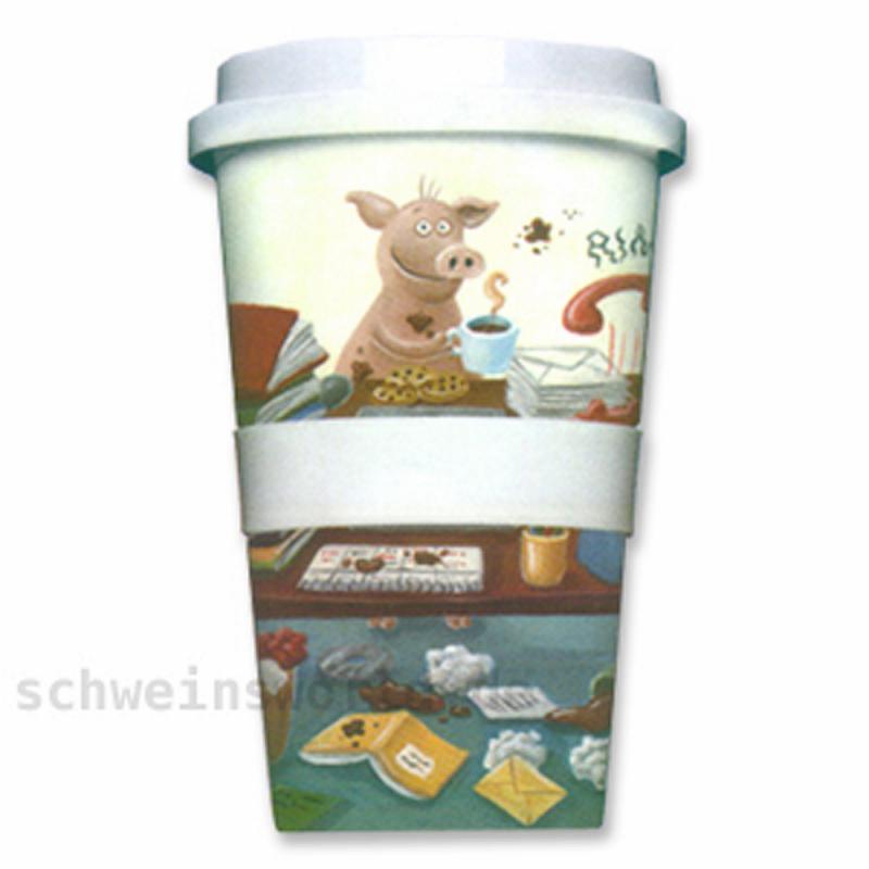 Coffee-to-go-Becher Porzellan BÜRO-CHAOS Chaos-Schwein
