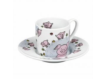 Espresso-Set Globetrotter Schweinchen Porzellan