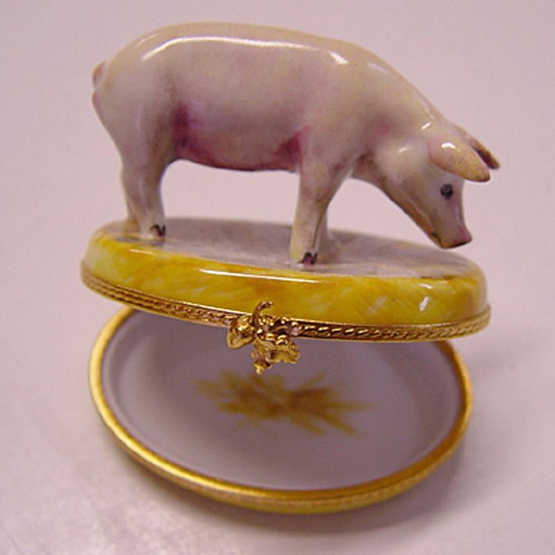 Original Limoges Porzellandose. Schwein. Limitierte Auflage