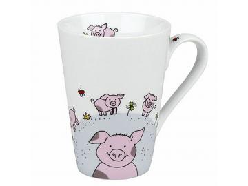 Becher Tasse Globetrotter Schweinchen Porzellan