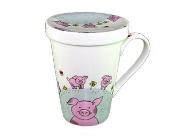 Becher Tasse One-Hand-Topper mit Deckel Schweinchen Porzellan