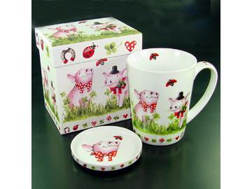 Henkelbecher mit Deckel Lucky Pigs in Geschenkbox GlücksSchwein Porzellan