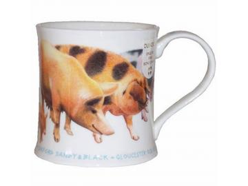 DUNOON Farm Breeds Pigs Tasse Becher Porzellan Schwein