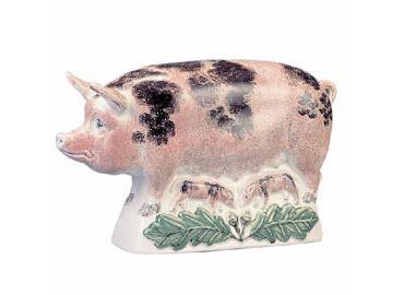 Schweine-Mama schwarz gefleckt. 29cm. Original englische Rye-Keramik