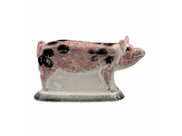 Kleines Schweinchen stehend schwarz gefleckt Original englische Rye-Keramik