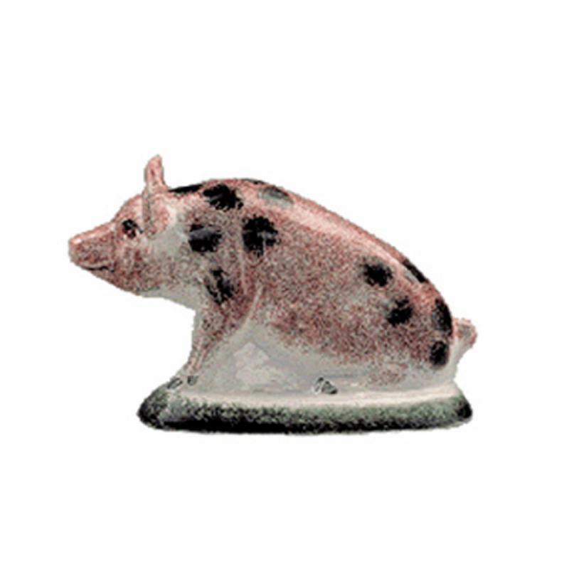 Kleines Schweinchen sitzend schwarz gefleckt Original englische Rye-Keramik