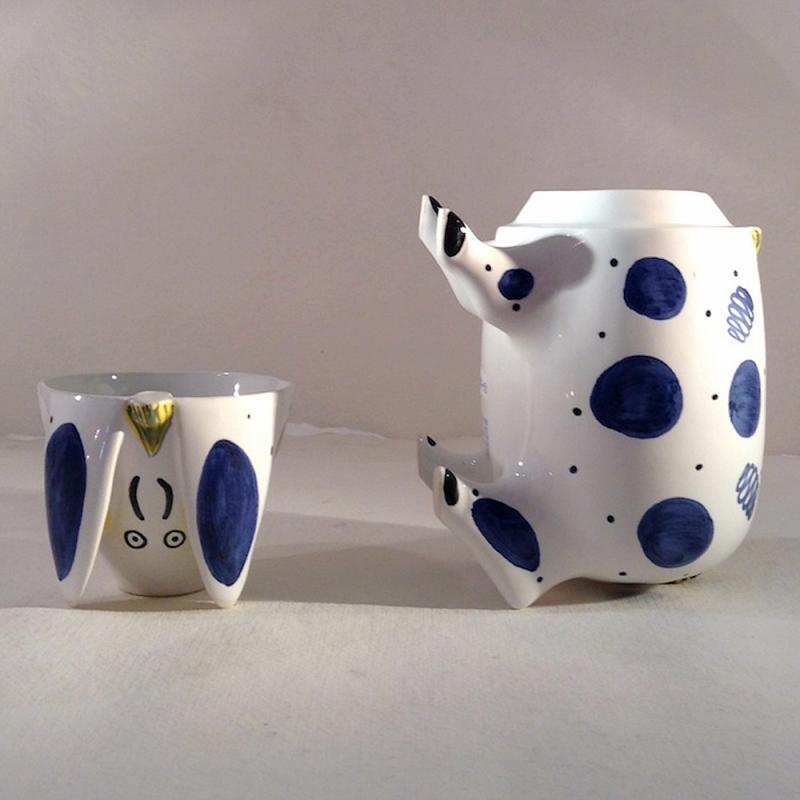 Sussex Pig Keramik Dose kobaltblau groß - Original englische Rye-Keramik
