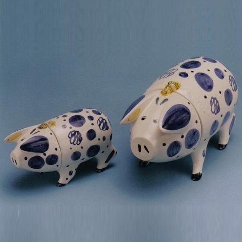 Sussex Pig Keramik Dose kobaltblau klein - Original englische Rye-Keramik