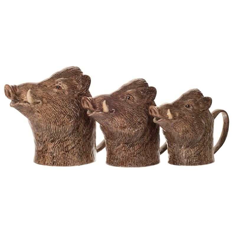 Kanne. Krug. Sahnekännchen Wildschwein M feine Keramik Quail GB