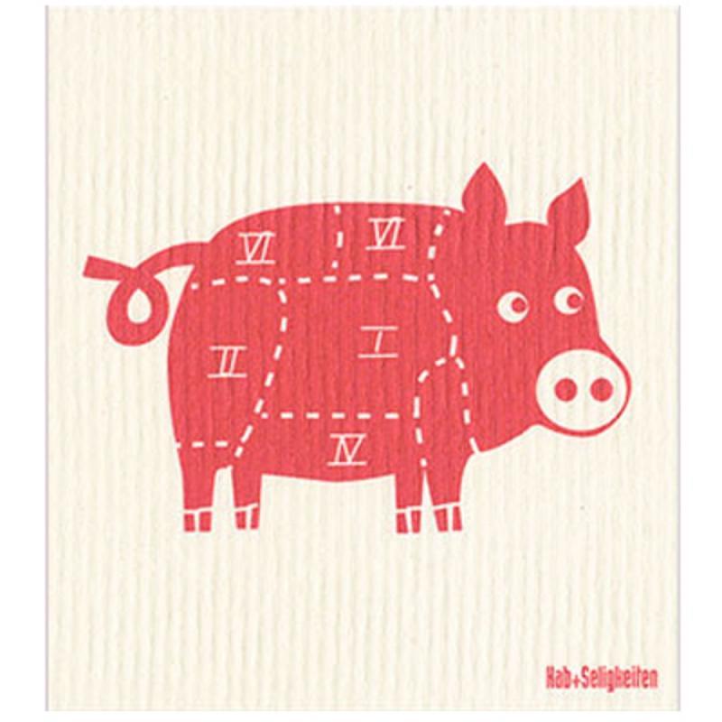 Schwammtuch Schwein. 20x22cm. waschbar