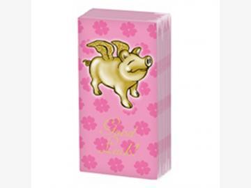 Bedruckte Taschentücher Golden Piggy, pink 10 Stück