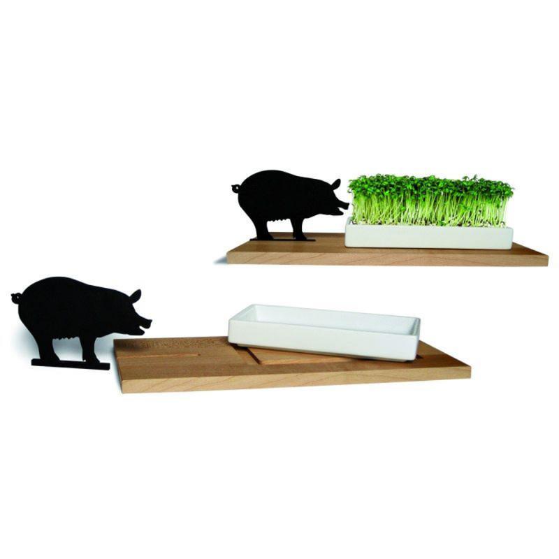 Kresseschale smart 'n' green . Schwein Holz u. Porzellan side by side