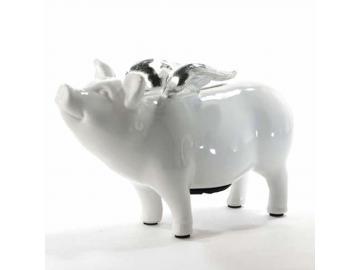Sparschwein mit Flügeln. Keramik. H 12cm