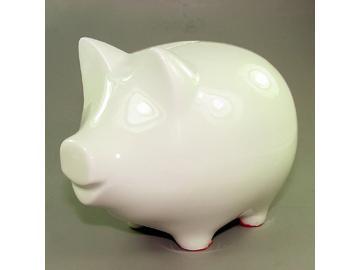 Sparschwein weiß. Porzellan. 17 cm