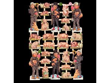 Glanzbilder Viel Glück!. Schwein. mit u. ohne Glimmer. 1 Bogen