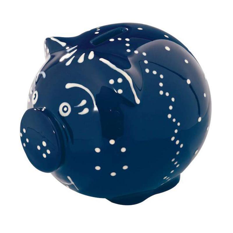 Sparschwein Original Bürgeler Keramik/ Thür. blau hell 12cm