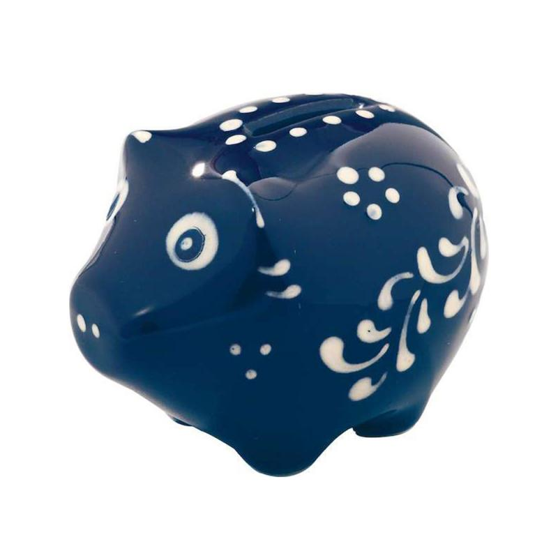 Sparschwein mini Original Bürgeler Keramik/ Thür. blau hell H-5cm