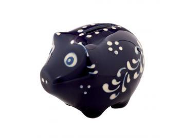 Sparschwein mini Original Bürgeler Keramik/ Thür. dunkelblau H-5cm