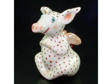 Glücksschwein Polkadots rot . Porzellan . Barbara Beranek