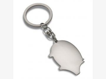 Glücksschwein-Schlüsselanhänger PRILLY MATT Metall mattsilber