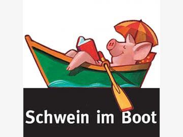 Lesezeichen / Seitenreiter Schwein im Boot