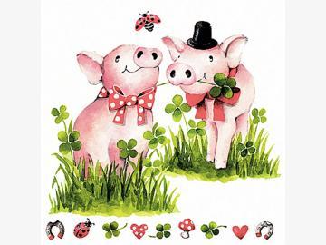 Servietten Lucky Pigs 20 Stück - 33 x 33 cm