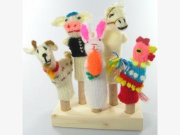 Fingerpuppen Bauernhof 5er-Set Ziege,Schwein,Hase,Pferd,Hahn gestrickt Bolivien und Peru