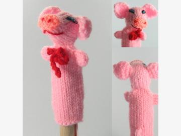 Fingerpuppe Schwein gestrickt Bolivien und Peru