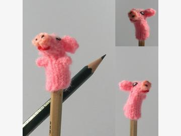 Fingerpuppe Mini-Schwein gestrickt Bolivien und Peru
