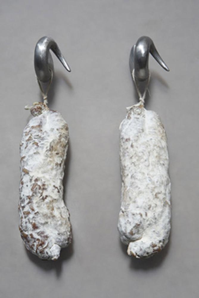 HO HISSE Schneidebrett mit Haken, Schwein. 29,5x23cm. Buchenholz. Aluminium