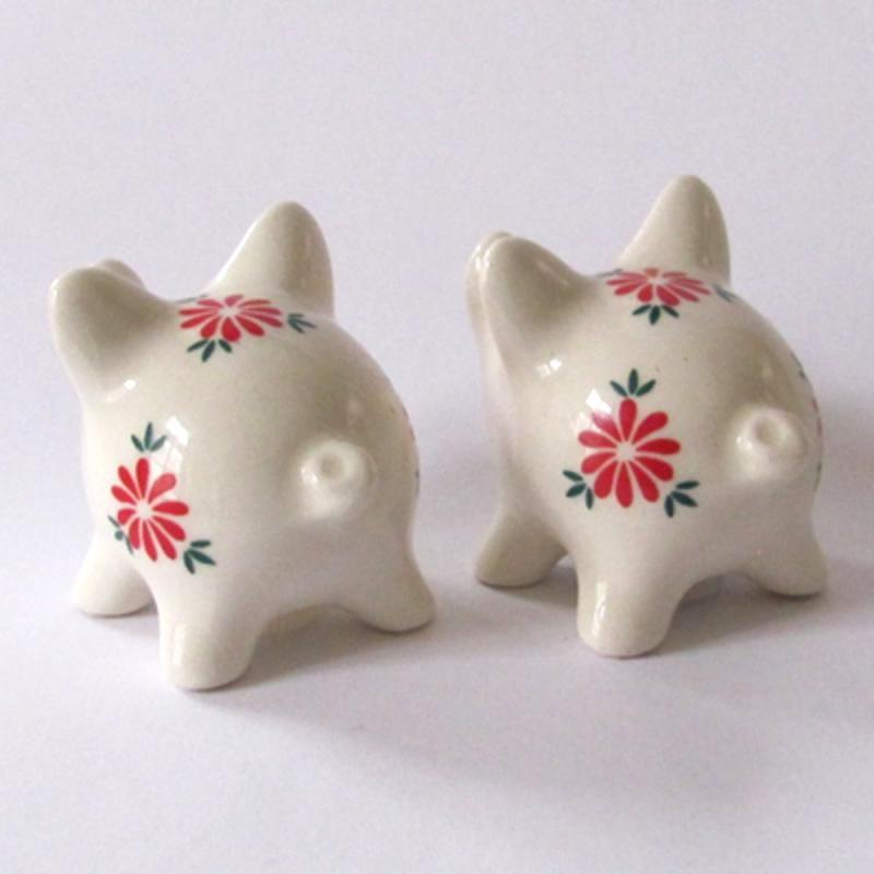 Salz- & Pfefferstreuer-Set geblümte Schweine . Goebel Porzellan gebraucht EINZELSTÜCKE
