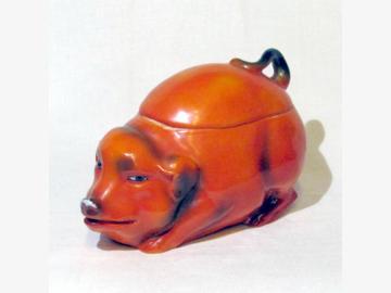 Dose m. Deckel orange-rot Porzellan gebraucht EINZELSTÜCK!!!!!!!