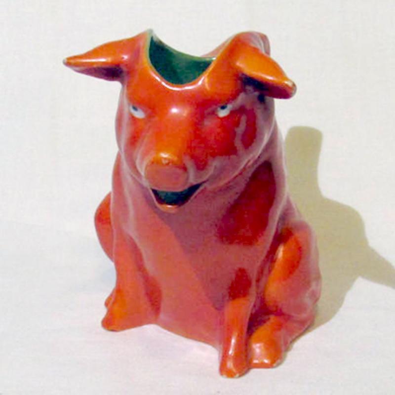 Kännchen Schwein orange-rot Porzellan gebraucht EINZELSTÜCK!!!!!!!