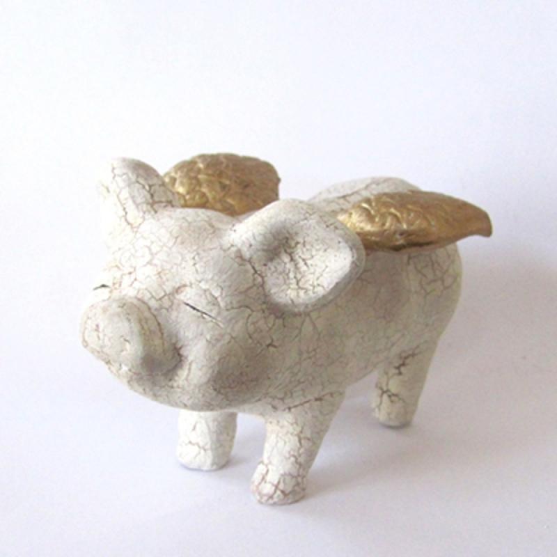 Keramik Schwein m. Goldflügeln klein . H 7,5cm Keramik TOP ZUSTAND!
