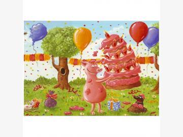 Klappkarte m. Kuvert Geburtstags-Chaos Chaos-Schwein