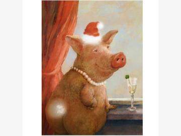 Klappkarte. Schönes Schweinachten. R.Hurzlmeier. Schwein