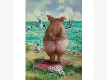 Postkarte. Strandschwein. R. Hurzlmeier