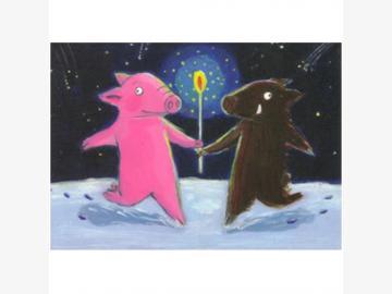 Postkarte Rosalie & Trüffel. Fröhliche Weihnachten. Schwein u. Wildschwein