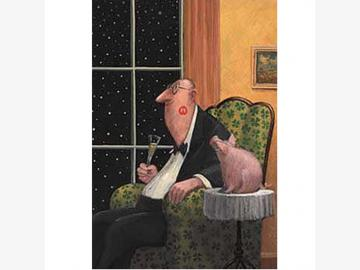 Klappkarte. Schweinebacke. G. Glück