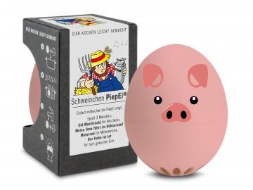 PIEPEI® . Schweinchen - Die Eieruhr zum Mitkochen! für 3 Eier-Härtegrade . in Geschenkdose