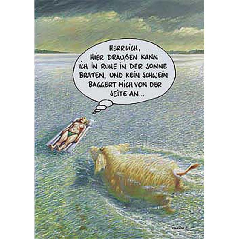 Postkarte ... kein Schwein . Marunde