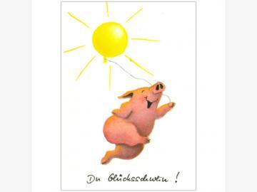 Postkarte Du Glücksschwein