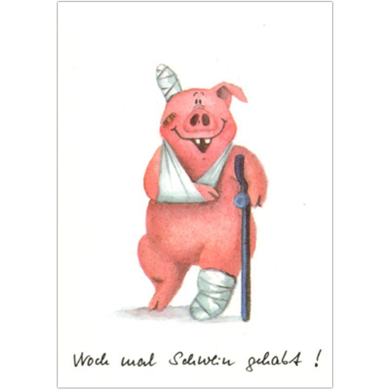 Postkarte Noch mal Schwein gehabt