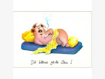 Postkarte Du kleine geile Sau