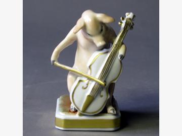 Musikant Cello Schwein Porzellan. handbemalt . Porzellanmanufactur Plaue