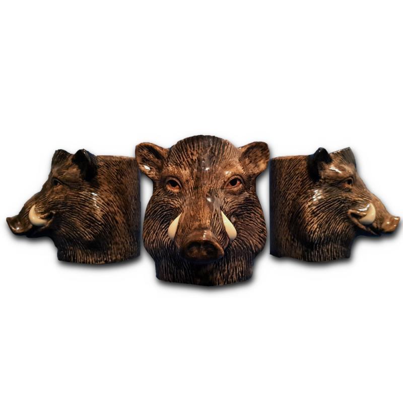 Multifunktions-Dose Wildschwein f. Stifte Pflanzen Kekse Tischmülleimer Schale Pot feine Keramik Quail GB