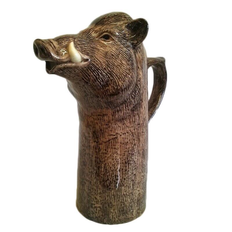 Wein-Krug Wildschwein Kanne feine Keramik Quail GB
