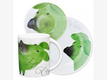 Clever Piggy 3er-Set Schwein Porzellan handbemalt 10% sparen!